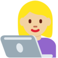 Woman Technologist: Medium-Light Skin Tone on Twitter Twemoji 12.0