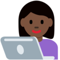 Woman Technologist: Dark Skin Tone on Twitter Twemoji 12.0