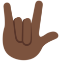 Love-You Gesture: Dark Skin Tone on Twitter Twemoji 12.0