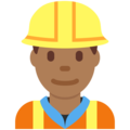 Man Construction Worker: Medium-Dark Skin Tone on Twitter Twemoji 12.0