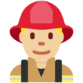 Man Firefighter: Medium-Light Skin Tone on Twitter Twemoji 12.0
