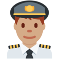 Man Pilot: Medium Skin Tone on Twitter Twemoji 12.0