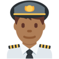 Man Pilot: Medium-Dark Skin Tone on Twitter Twemoji 12.0