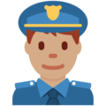Man Police Officer: Medium Skin Tone on Twitter Twemoji 12.0