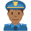 Man Police Officer: Medium-Dark Skin Tone on Twitter Twemoji 12.0