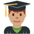 Man Student: Medium Skin Tone on Twitter Twemoji 12.0