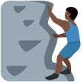 Man Climbing: Dark Skin Tone on Twitter Twemoji 12.0