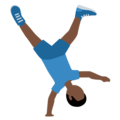 Man Cartwheeling: Dark Skin Tone on Twitter Twemoji 12.0