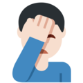 Man Facepalming: Light Skin Tone on Twitter Twemoji 12.0