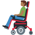 Man in Motorized Wheelchair: Medium-Dark Skin Tone on Twitter Twemoji 12.0