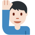 Man Raising Hand: Light Skin Tone on Twitter Twemoji 12.0