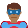Man Superhero: Medium-Dark Skin Tone on Twitter Twemoji 12.0