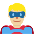 Man Superhero: Medium-Light Skin Tone on Twitter Twemoji 12.0