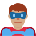 Man Superhero: Medium Skin Tone on Twitter Twemoji 12.0