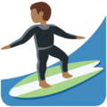 Man Surfing: Medium-Dark Skin Tone on Twitter Twemoji 12.0