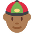 Man With Chinese Cap: Medium-Dark Skin Tone on Twitter Twemoji 12.0