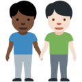 Men Holding Hands: Dark Skin Tone, Light Skin Tone on Twitter Twemoji 12.0