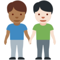 Men Holding Hands: Medium-Dark Skin Tone, Light Skin Tone on Twitter Twemoji 12.0