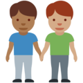 Men Holding Hands: Medium-Dark Skin Tone, Medium Skin Tone on Twitter Twemoji 12.0