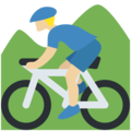 Person Mountain Biking: Medium-Light Skin Tone on Twitter Twemoji 12.0