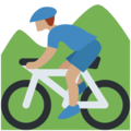Person Mountain Biking: Medium Skin Tone on Twitter Twemoji 12.0
