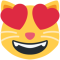 Smiling Cat Face With Heart-Eyes on Twitter Twemoji 12.0