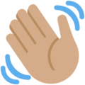 Waving Hand: Medium Skin Tone on Twitter Twemoji 12.0