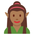 Woman Elf: Medium-Dark Skin Tone on Twitter Twemoji 12.0