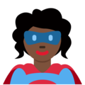 Woman Superhero: Dark Skin Tone on Twitter Twemoji 12.0