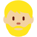 Man: Medium-Light Skin Tone, Beard on Twitter Twemoji 12.1