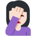 Person Facepalming: Light Skin Tone on Twitter Twemoji 12.1
