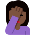 Person Facepalming: Dark Skin Tone on Twitter Twemoji 12.1