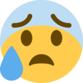 Anxious Face With Sweat on Twitter Twemoji 12.1