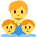 Family: Man, Boy, Boy on Twitter Twemoji 12.1