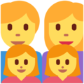 Family: Man, Woman, Girl, Girl on Twitter Twemoji 12.1