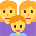 Family: Woman, Woman, Boy on Twitter Twemoji 12.1