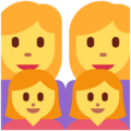 Family: Woman, Woman, Girl, Girl on Twitter Twemoji 12.1