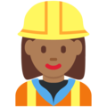 Woman Construction Worker: Medium-Dark Skin Tone on Twitter Twemoji 12.1
