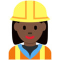 Woman Construction Worker: Dark Skin Tone on Twitter Twemoji 12.1