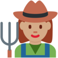 Woman Farmer: Medium Skin Tone on Twitter Twemoji 12.1