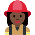 Woman Firefighter: Dark Skin Tone on Twitter Twemoji 12.1