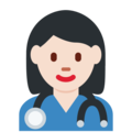 Woman Health Worker: Light Skin Tone on Twitter Twemoji 12.1