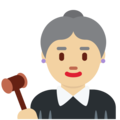 Woman Judge: Medium-Light Skin Tone on Twitter Twemoji 12.1