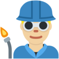 Man Factory Worker: Medium-Light Skin Tone on Twitter Twemoji 12.1