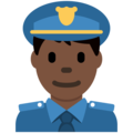 Man Police Officer: Dark Skin Tone on Twitter Twemoji 12.1