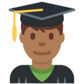 Man Student: Medium-Dark Skin Tone on Twitter Twemoji 12.1
