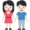 Woman and Man Holding Hands: Light Skin Tone on Twitter Twemoji 12.1