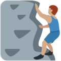 Man Climbing: Medium Skin Tone on Twitter Twemoji 12.1