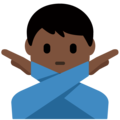 Man Gesturing No: Dark Skin Tone on Twitter Twemoji 12.1