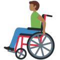 Man in Manual Wheelchair: Medium-Dark Skin Tone on Twitter Twemoji 12.1